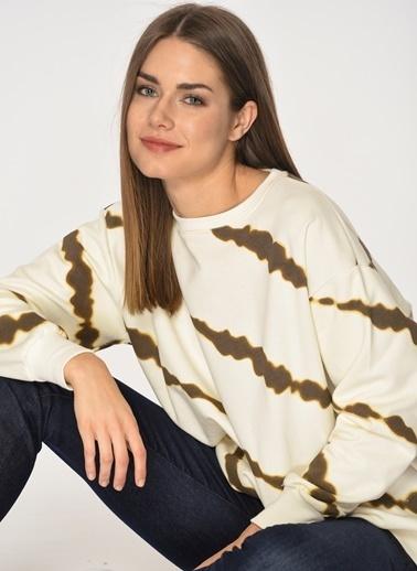 Loves You Batik Baskılı Sweatshirt Ekru